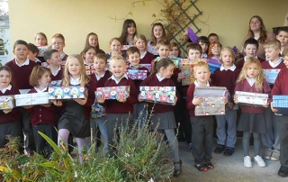 st mura's buncrana school pupils wih shoebox appeal